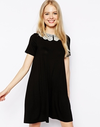 Asos Swing Dress With Crochet Collar And Short Sleeves Black