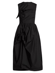 Simone Rocha Knotted Gathered Cotton Poplin Dress Black