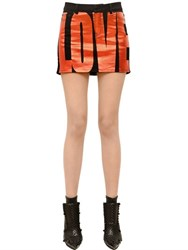 Givenchy Love Printed Cotton Denim Mini Skirt
