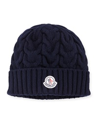 Moncler Cashmere Cable Knit Beanie Hat Navy