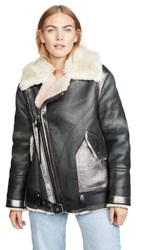 Coach 1941 Oversized Shearling Aviator Jacket Black Pink