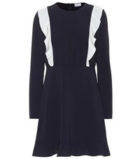 Red Valentino Ruffled Crepe Dress Blue