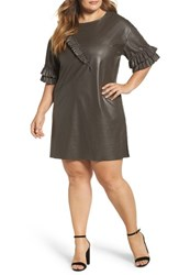 Elvi Plus Size Women's Ruffle Shift Dress Stone