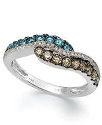 Le Vian Chocolate Blue And White Diamond Ring In 14K White Gold 3 4 Ct. T.W.