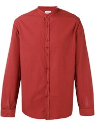 Costumein Mandarin Collar Shirt Men Cotton 50 Red