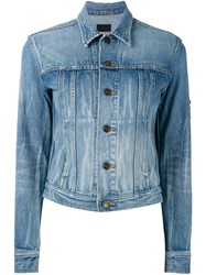 Saint Laurent Cropped Denim Jacket Women Cotton L Blue