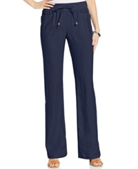 Style And Co. Wide Leg Linen Drawstring Pants Ink