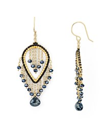 Miguel Ases Beaded Oval Drop Earrings Multi Gold