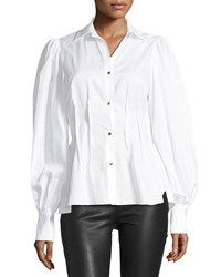 Petersyn Waverly Striped Button Front Blouson Sleeve Cotton Shirt White