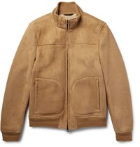 Loro Piana Shearling Bomber Jacket Brown