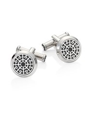Montblanc Urban Spirit Onyx And Stainless Steel Manhole Cuff Links Silver