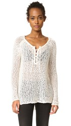 Cupcakes And Cashmere Phyllis Lace Up Sweater Oatmeal