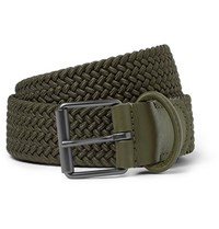 Andersons 3.5Cm Green Leather Trimmed Woven Elastic Belt