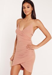 Missguided Chain Strap Ruched Bodycon Dress Pink Red