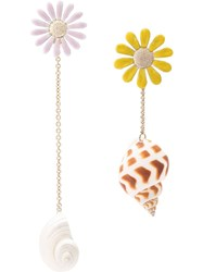 Missoni Ssymmetrical Flower And Shell Earrings Multicolour
