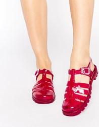 Juju Maxi Jelly Flat Sandals Red
