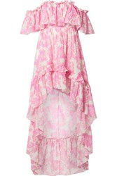 Loveshackfancy Alexia Asymmetric Ruffled Floral Print Cotton And Silk Blend Voile Dress Pink