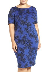Vince Camuto Plus Size Women's 'Delicate Foliage' Print Sheath Dress Optic Blue