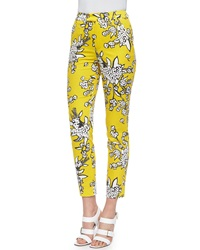 Red Valentino Bouquet Print Slim Ankle Pants