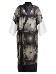 Haider Ackermann Sunburst Silk Blend Jacquard Kimono Opera Coat Black