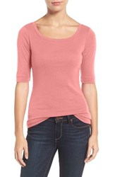 Caslonr Women's Caslon Ballet Neck Cotton And Modal Knit Elbow Sleeve Tee Pink Blossom