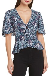 Willow And Clay Tie Front Flutter Sleeve Top Denim