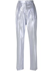 Alberta Ferretti Shimmery Tailored Trousers Blue