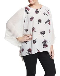 Vince Camuto Floral Signature Pleated Sleeve Blouse Ivory