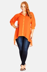City Chic Open Back High Low Tunic Shirt Plus Size Tangerine