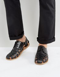 Zign Leather Caged Sandals Black