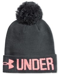 Under Armour Graphic Pom Pom Beanie Stealth Grey Brlliance Ivory