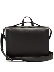 Fendi Logo Embossed Leather Briefcase Black