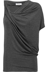 Bailey 44 Tempest Asymmetric Draped Stretch Jersey Top Charcoal