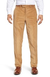 John W. Nordstrom Torino Traditional Fit Flat Front Corduroy Trousers Gold