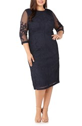 Js Collections Plus Size Sheer Sleeve Soutache Sheath Dress Navy