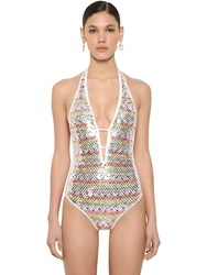 Missoni Shiny Sequined Lycra One Piece Swimsuit White