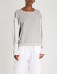 Stateside Striped Sleeve Cotton Jersey Sweatshirt Heather Grey
