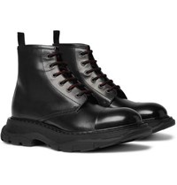Alexander Mcqueen Exaggerated Sole Leather Boots Black