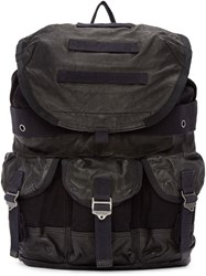 Diesel Black Leather And Canvas L Breaking Backpack