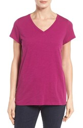 Eileen Fisher Women's Organic Cotton V Neck Tee Cerise