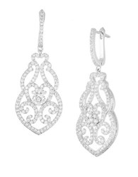Lord And Taylor Sterling Silver Filigree Pave Earrings