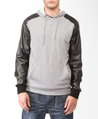 Forever 21 Faux Leather Sleeve Hoodie