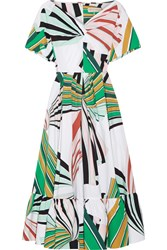 Emilio Pucci Pleated Printed Stretch Cotton Poplin Midi Dress Green