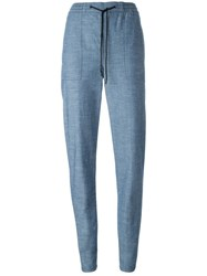 Proenza Schouler Drawstring Chambray Trousers Blue