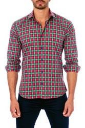 Unsimply Stitched Long Sleeve Plaid Semi Fitted Woven Shirt Multi
