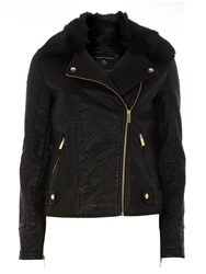 Dorothy Perkins Faux Fur Bonded Biker Jacket Black