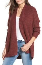 Dreamers By Debut Rib Knit Open Cardigan Dust Plum