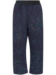 By Walid Gerald Embroidered Cropped Trousers Blue