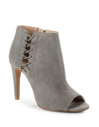 French Connection Suede Open Toe Stiletto Booties Grey
