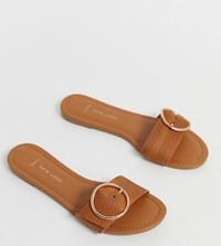 New Look Wide Fit Buckle Detail Mule In Tan